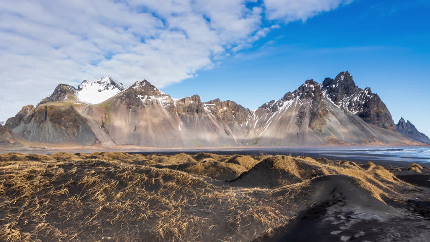 Timelapse of vestrahorn mountain in clear sky day ,Iceland