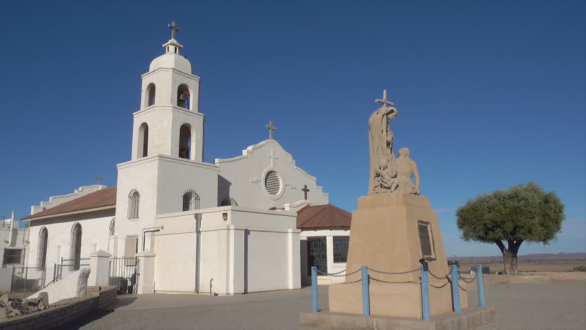 YUMA, ARIZONA/USA - NOVEMBER 05, 2017: St Thomas Church and Indian Mission. The church was built in 1922 on the site of the mission which was founded by Father Garces in 1780. | Shutterstock HD Video #1010131709