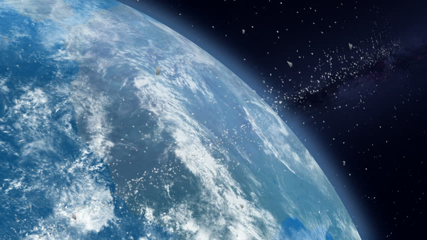 Space Debris Waste  The mass of defunct, artificially created objects in space. | Shutterstock HD Video #1010150369