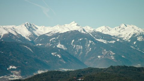 WS PAN Snowcapped mountains / Neustift, Upper Austria, Austria