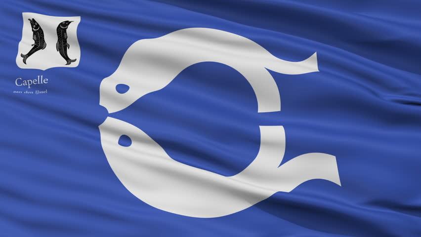 Capelle aan den IJssel closeup flag, city of Netherlands, realistic animation seamless loop - 10 seconds long