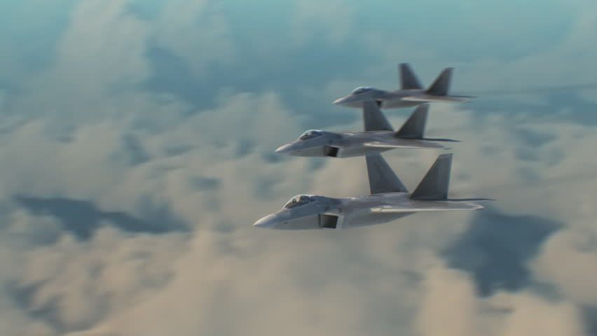 Aerial shot of F22s flying in formation.