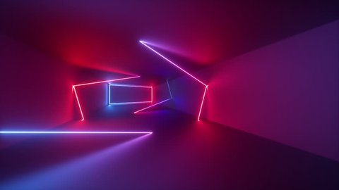 3d render, abstract geometric background, fluorescent ultraviolet light, glowing neon lines rotating inside tunnel, blue red pink purple spectrum, spinning around, modern colorful illumination