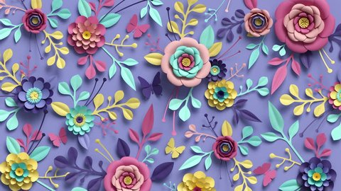 3d rendering, loop animation of floral background, turning paper flowers, botanical pattern, papercraft, candy pastel colors, bright hue palette