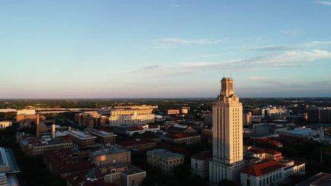 4K Aerial University of Texas UT Tower Austin with Stadium
