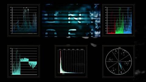 Technical screen display of pulsing video data (Loop).