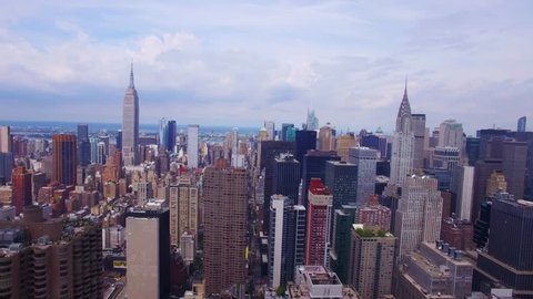 Aerial view of the Empire State and Chrysler Buildings, Manhattans Iconic Skyscrapers, Midtown,New York City, North America, USA, cloudy weather, real time