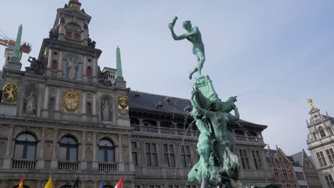 Historic center of Antwerp with old Building of City Hall and Barbo Fountain