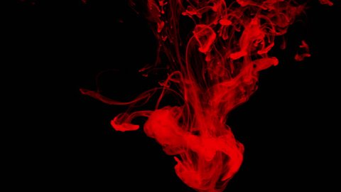 Red ink in water shooting with high speed camera. Bloody paint dropped, reacting, creating abstract cloud formations and metamorphosis on black. Art backgrounds. Slow motion. 4k