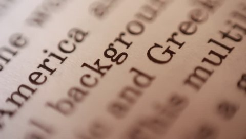 English text extreme close up