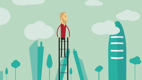 Urban flat design businessman on the top of a ladder looking to the future with a telescope