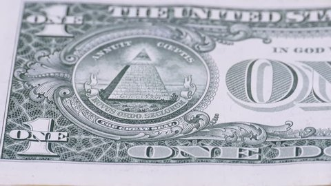 All seeing eye on the one dollar. The reverse side of the dollar denominations of 1 dollar.