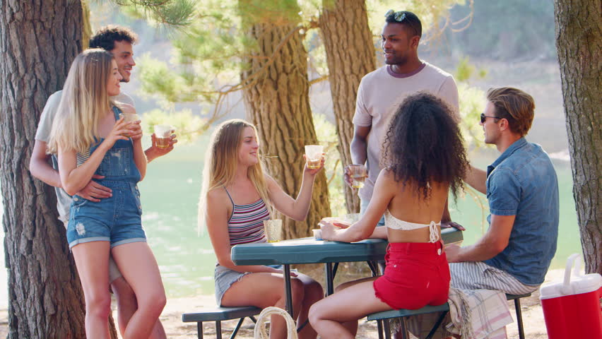 Group of friends making a toast at a table by a lake