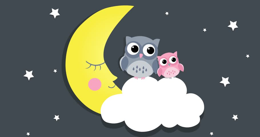 Cute owl and a small owl on a white cloud with moon, on a dark blue background. Can be used for lullaby, children's video. Cartoon animation, loop, 4K