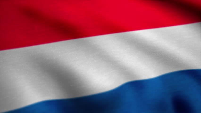 Netherlands Dutch Flag Realistic Animation. An Animation of the Flag of Netherlands