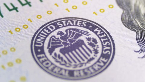 Part of the 100 US bills, view on printing type of the United States, the Federal Reserve System. Cash money background.