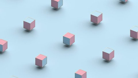 Abstract 3d rendering of geometric shapes. Computer generated loop animation. Modern background with cubes. Seamless motion design for poster, cover, branding, banner, placard. 4k UHD