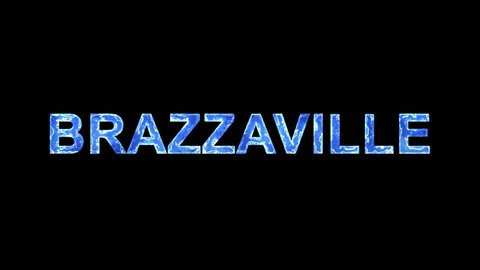 Blue lights form luminous capital name BRAZZAVILLE. Appear, then disappear. Electric style. Alpha channel Premultiplied - Matted with color black