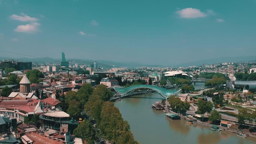 Freedom Bridge Tbilisi - Georgia Aerial Footage | Shutterstock HD Video #1010348999