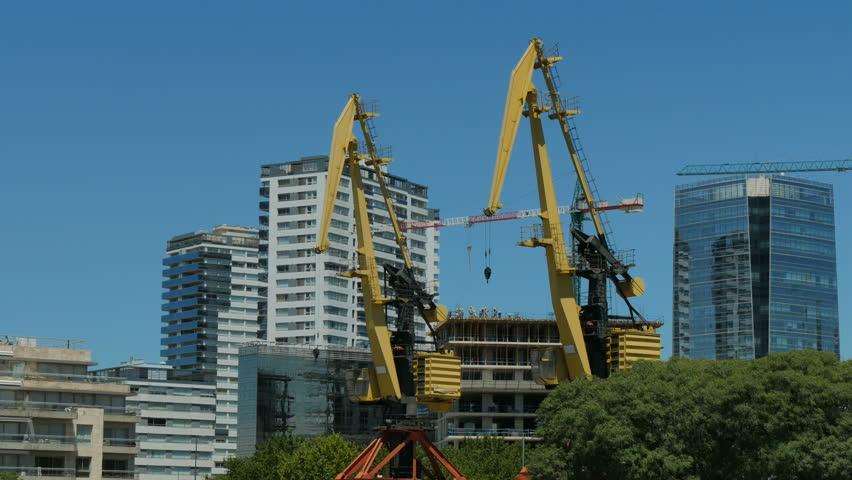 Old cranes in Puerto Madero neighbourhood in Buenos Aires, Argentina.