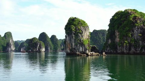 Mountain Islands In Halong Bay, Cat Ba island, Vietnam.