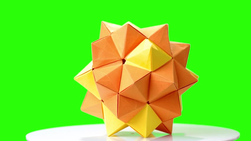 Modular Origami Flower On Green Stock Footage Video 100