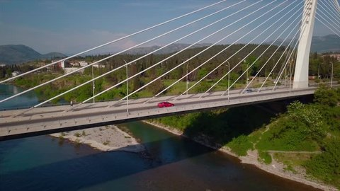 Millenium Bridge over the river River in the city Moracha, Podgorica, Montenegro