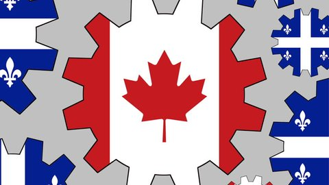 Canadian and Quebec province flag gears rotating background zooming out
