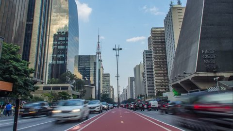 São Paulo/SP/Brazil - 04/25/2018: Traffic in the Paulista Avenue (Avenida Paulista).
