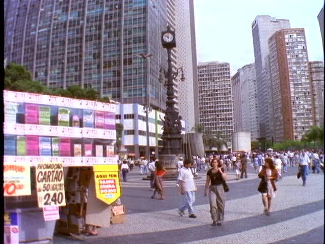 BRAZIL, 1998, Rio de Janerio, downtown business district, crowd, square, clock, kiosk