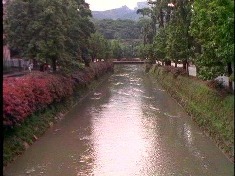 BRAZIL, 1998, Petropolis, Brazil, canal, wide shot, tilt up
