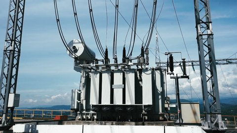 Electric Power Station. High-Voltage Transmission Line Of The Electric Power