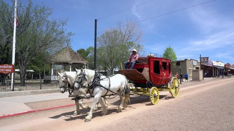 Stagecoach in Tombstone, Arizona, USA. 19th April 2018. for editorial use only