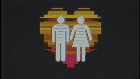 simple family heart symbol glitch screen distortion VHS TV display animation seamless loop background New quality universal close up vintage dynamic animated colorful joyful cool nice video footage