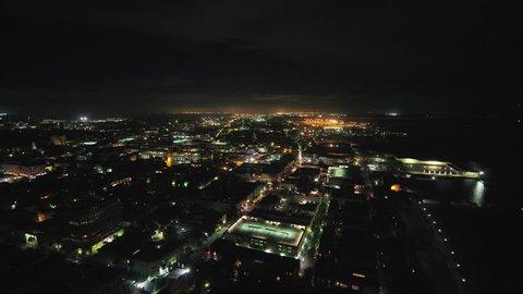 South Carolina Charleston Aerial v1 Birdseye night view of French Quarter 10/17