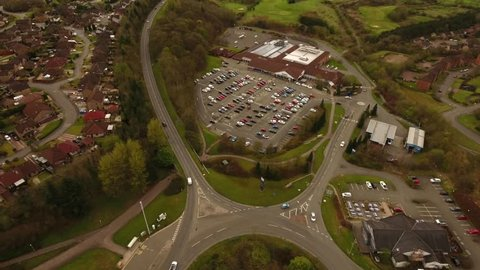 Auchinbee Way, Cumbernauld, Glasgow, Scotland, UK; April 24th 2018: Aerial footage of the Tesco Superstore.