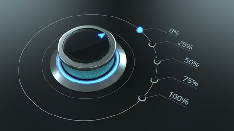 Futuristic switch knob rotating from zero to 100 percent, device, technology
