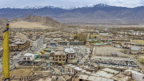 Traffic in bus stand, Leh city is located in the Indian Himalayas at an altitude of 3500 meters, Leh Cityscape viewed Kyigu Drak Gonpa.
