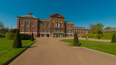 LONDON, circa 2018 - Wide angle POV shot towards the famous Kensington Palace in London, England, UK. The palace is home to Prince William, Kate Middleton, Prince Harry and Meghan Markle