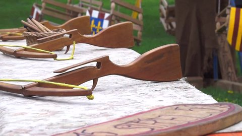 Wooden crossbow at the children's playground at the festival in Prague