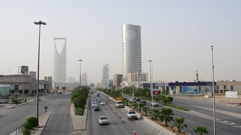 Riyadh, Saudi Arabia – May 5th 2018: Main Road in Riyadh City (Morning). Saudi Arabia