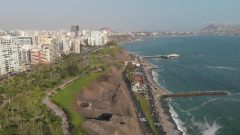MIRAFLORES, LIMA, PERU: Paraglides and the city as background.