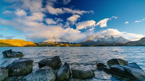 View of Torres Mountains in the Torres del Paine National Park during sunrise. Autumn in Patagonia, the Chilean side