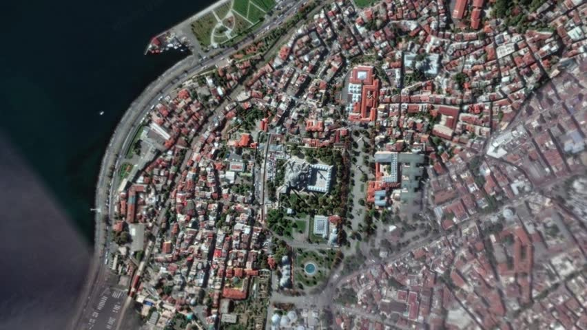Earth Zoom In Zoom Out Sultan Ahmet Mosque Istanbul Turkey