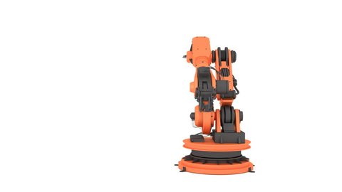 Robotic arm on white background. 3D rendering