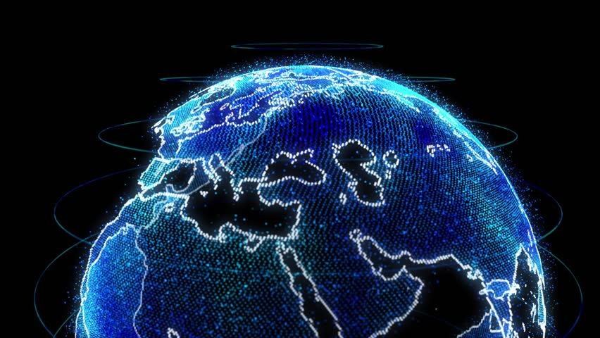 technology, network and data concept - 3d rendering of earth planet over black background #1010763059