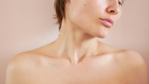 Female shoulders close-up, seductive clavicles and neck