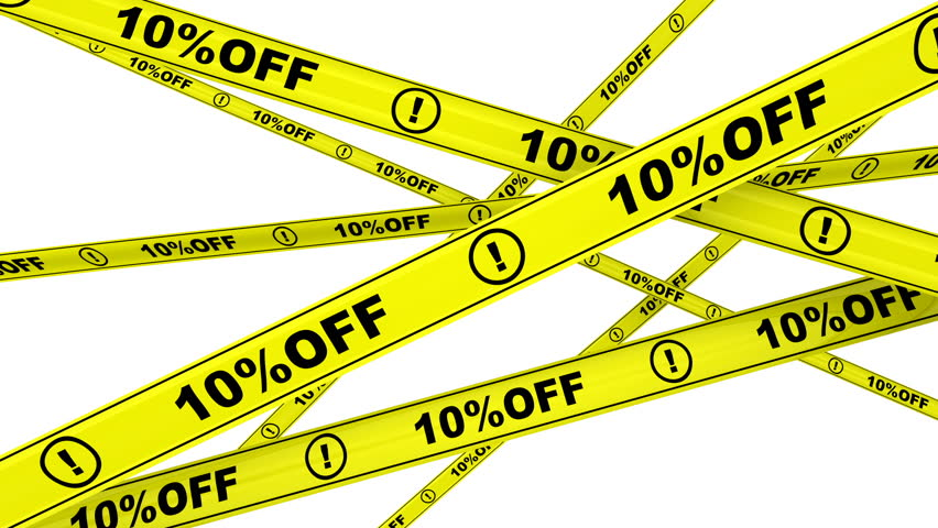 10 percentage off. Yellow warning tapes with text 10%OFF. Footage video