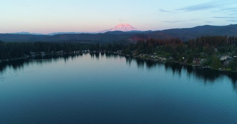 Mount Rainier Sunset View Lake Reflection Drone Aerial