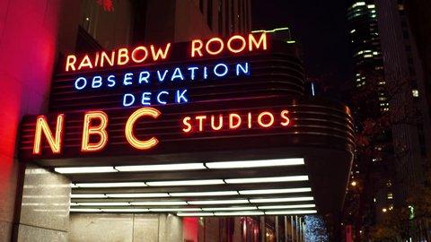NEW YORK CITY, NEW YORK - November 22: Sign outside of NBC Studios Rainbow Room observation deck in New York City, NY on November 22, 2017.